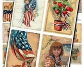 Vintage Americana Patriotic Collage Sheet - Red White and Blue Images - Instant Download - Printable