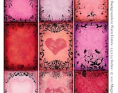 Swirls and Hearts Instant Download - ACEO ATC Backgrounds - Collage Sheet - Warm Reds Pinks and Lavenders - Printable