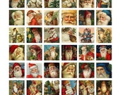 Instant Download - Christmas - Victorian Santas Collage Sheet - Vintage Santa Claus - 1 x 1 Inch - Digital Download - Printable