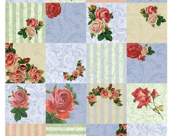 Vintage Roses - Shabby Chic Cottage Style Roses Collage Sheet - 2 Inch Squares - Instant Download - Printable