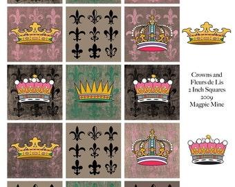 Crowns and Fleur de Lis Collage Sheet - Grunge Background - Instant Download - Printable