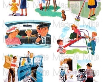 Fun in the 50's - Instant Download - Digital Collage Sheet - Digital Download - Printable