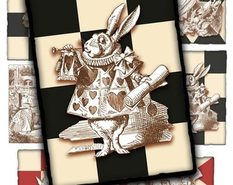 Alice and Friends Collage Sheet - Instant Download - Printable - Alice in Wonderland Inspired - John Tenniel Illustrations