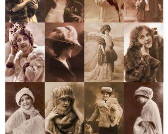 Vintage Beauties in Fur Collage Sheet - Glamorous Women - Sepia - 2 x 3 Inches - Instant Download - Printable