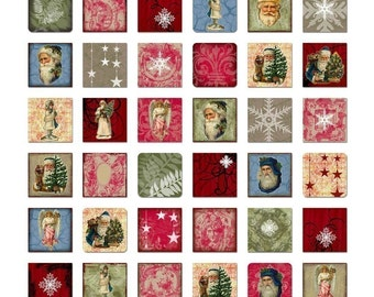 Christmas Inchies Digital Collage Sheet - Instant Download - Tiny Holiday Squares - Digital - Printable