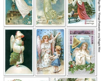 Christmas Angels Collage Sheet - Vintage Postcards - 2.5 x 4 and 2.25 x 3.75 Inches - Instant Download - You Print