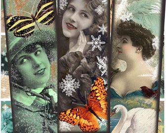 Vintage Ladies with Frost and Snowflakes Digital Collage Sheet - 1 x 3 Inch Rectangles - Printable Download