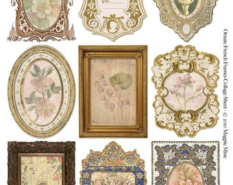 Ornate French Frames with Botanical Prints Collage Sheet - Instant Digital Download - Printable