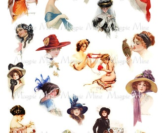 Gibson Girls Collage Sheet Two - Digital Download - Printable - Edwardian Women - Instant Download