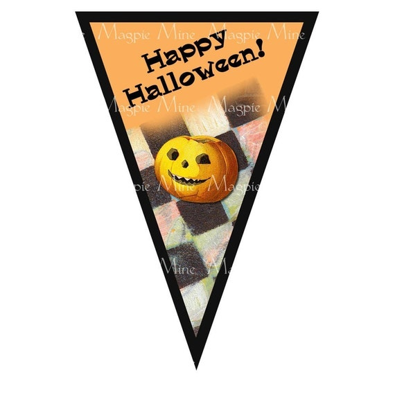 Halloween Banner Printable Collage Sheet 5 Triangle