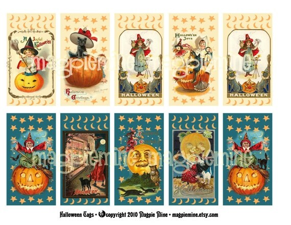 Halloween Tags - Digital Download - Make Your Own Tags - Printable - Vintage Images - Eight Different Designs