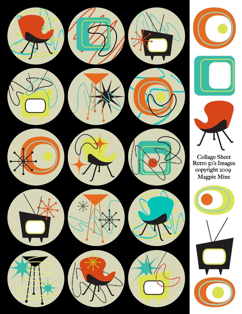 Retro Mid Century Designs Collage Sheet Two Inch by MagpieMine