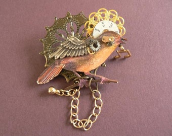SOLD  I Know Why the Caged Bird Sings STEAMPUNK ASSEMBLAGE Brooch Pin