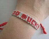 GO BUCKS Friendship Bracelet - Team Spirit - Ohio State - OSU - Buckeyes - Scarlet and Grey - Wish - Personalized