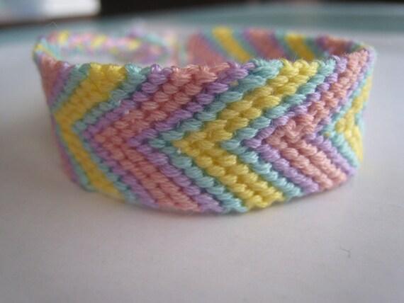 SPRING PASTEL CHEVRON Friendship Bracelet - Wish Bracelet - Arrow - Easter - Vegan