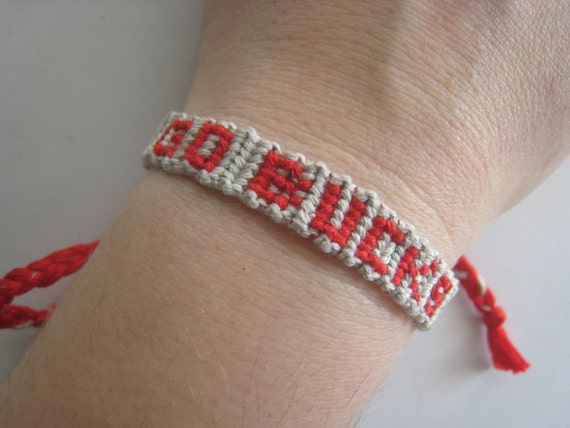 GO BUCKS Friendship Bracelet - Team Spirit - Ohio State - OSU - Buckeyes - Scarlet and Grey - Wish - Personalized