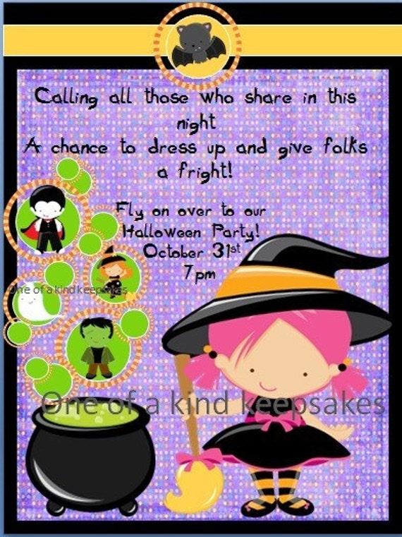 CUSTOMIZE Halloween Party Invitations PRINTABLE