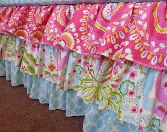 3 Tiered Ruffle Crib Skirt - Your choice of fabrics - Custom colors