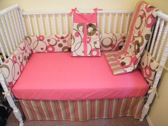 Baby Girl Crib Bedding Set Pink Cream Green Sale