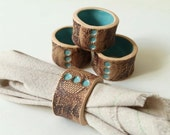 Handmade Turquoise and Lace Napkin Rings Set of Four