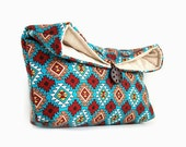 Southwestern Fashion, Makeup Bag, Bridesmaid Gift, Geometric Pattern, Tribal, Turquoise Clutch Purse, Cosmetic Travel Bag, Gift Under 25