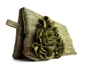Spring Fashion. Green Clutch Purse with Silk Flowers, Spring Wedding Accessory, Garden Blooms, Mother's Day Gift Idea, Gift for Mom