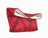 Handmade Red and Brown Floral Clutch Purse, Makeup Bag, Great for Travel, Gift Under 25, Bridesmaid Gift Clutch