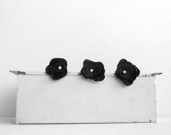 Black Flower Hair Snap Clips - Set of Three