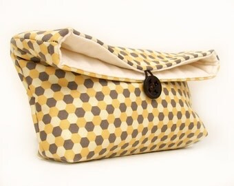 Bridesmaid Gift, Makeup Bag, Yellow and Gray Clutch Purse, Geometric Honeycomb, Honey Gold and Titanium, Under 25, Fall Trend, Fall Fashion