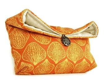 Makeup Bag, Bridesmaid Gift, Orange and Gold Orchid Petal Clutch Purse, Tangerine, Jewel Tone, Orange Clutch, Travel Bag Gift Under 25 Shell
