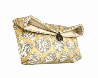 Handmade Makeup Bag, Beige Tan - Gray - Ivory Orchid Petal Clutch Purse, Bridesmaid Gfit, Great for Travel, Gift Under 25, Shell, Seashell