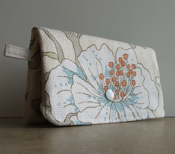 Cream Floral Foldover Clutch w\/ Attatched Zipper Pouch - Dupioni Silk Lining