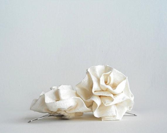 Handmade Wedding Bridal Hair Piece, Ivory Bridal Flower Hair Clips, Silk Rosettes, Wedding Hair Accessory - Set of Two (2)