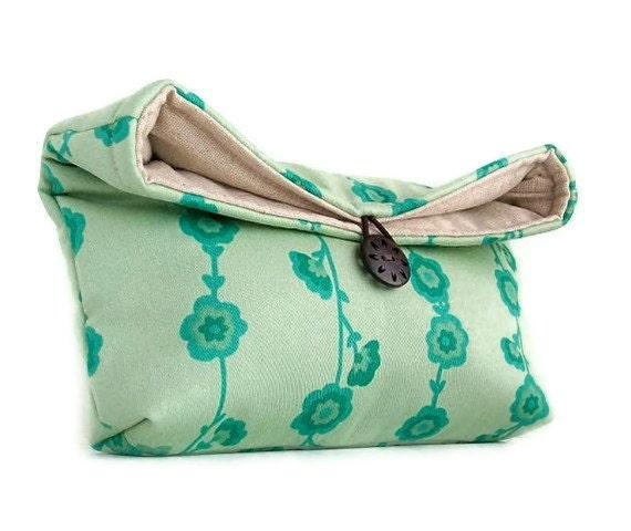 Handmade Blue Flower Vine Clutch Purse, Bridesmaid Clutch, Makeup Bag, Travel Cosmetic Bag, Gift Under 25, Bridesmaid Gift Idea