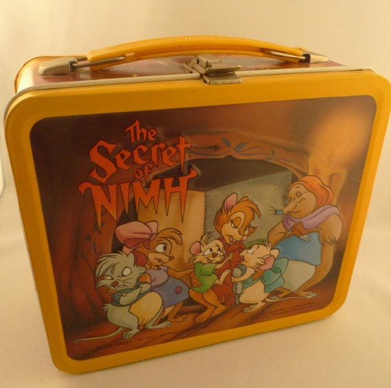 The Secret of Nimh, 1982 metal lunch box with plastic thermos.