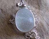 Natural Sea Glass Sterling Silver Pendant Necklace Soft Bubbley White (282)