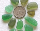 Shades of Green Imperfections Drilled Sea Glass Supplies (432)