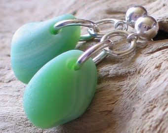 Natural Sea Glass Sterling Silver Studs Post Earrings Pastel Green Milk Glass (230)