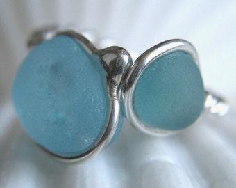 Natural Sea Glass Sterling Silver Ring Bubbley Aqua Blue and Seafoam US 9 1/4 (314)