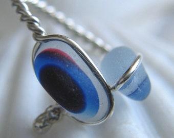 Natural Sea Glass Sterling Silver Ring Rare Multicolor Blue US 5 1/4 (317)