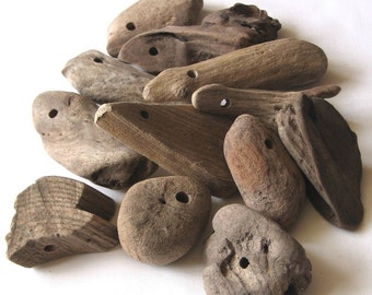 12 Natural Driftwood Extra Large Beads Focals Drilled 5mm holes Supplies (1071)