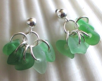 Natural Sea Glass Sterling Silver Studs Post Earrings Lime Emerald Green (335)