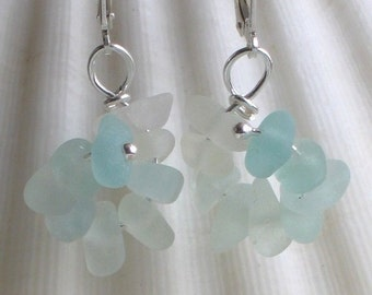 Natural Sea Glass Sterling Silver Lever Back Earrings Soft Pastel Aqua Seafoam (349)