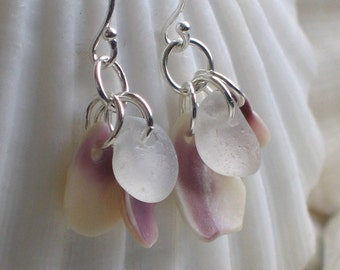 Natural Sea Glass Sterling Silver Earrings Soft Plumb White (366)