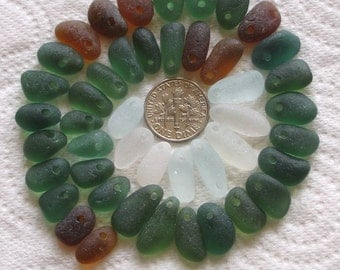 45 Natural Sea Glass Thick Beads Top Drilled 1.5mm holes Supplies (1228)