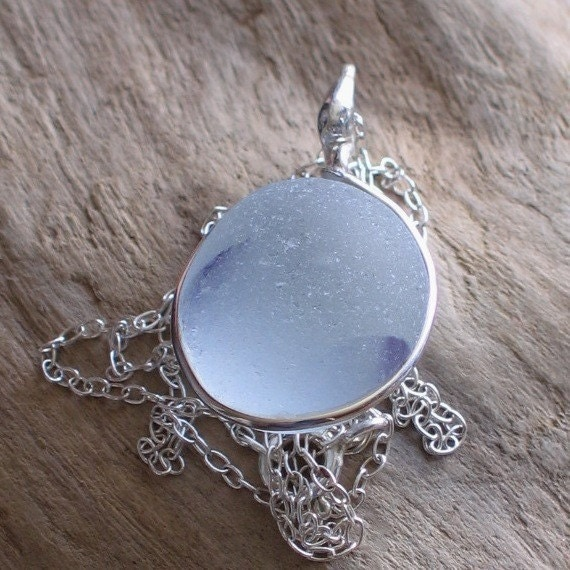 Natural Sea Glass Silver Pendant Necklace Blue Wisps on Soft White (288)