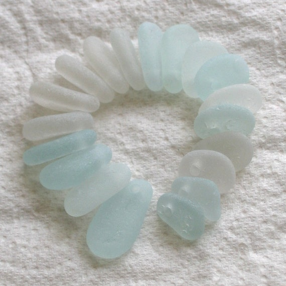 19 Natural Sea Glass Beads Top Drilled 2mm holes Supplies (1247)