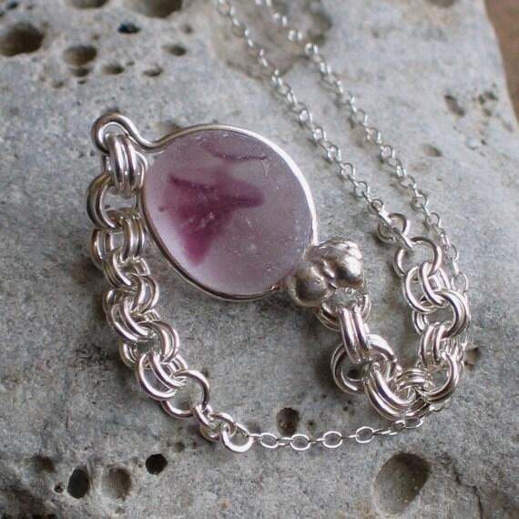 Natural Sea Glass Sterling Silver Pendant Necklace Rare Orchid Multicolor (443)