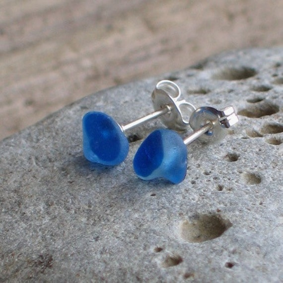 Natural Sea Glass Sterling Silver Studs Post Earrings Rare Royal Blue Multicolor (447)