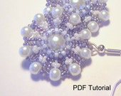PDF Tutorial for Pearl Flower Earrings...EBW Team...Blue and Pearl...Beadwoven